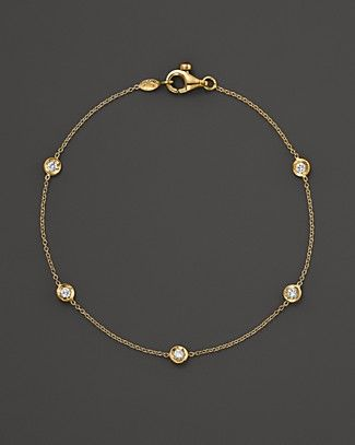 Roberto Coin Diamond 5 Station Bracelet Set in 18K Yellow Gold | Bloomingdale's