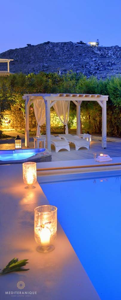 Luxury by the poolside at the Palladium Hotel Mykonos, Greece