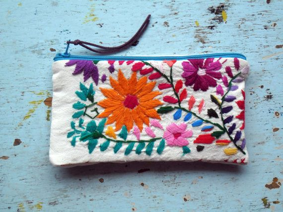 Change Purse Made in Mexico Embroidered Details by EricaMaree, Handmade item Materials: linen, plastic zipper, leather cord, embroidery thread, LOVE Feedback: 75 reviews Ships worldwide from Mexico