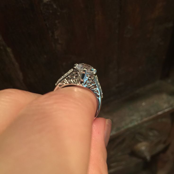 Platinum Edwardian Diamond Ring with 7mm Round White Sapphire Ctr Vintage Wedding Ring Bridal Jewelry Original Engagement Gift Ideas - V1055 by JewelryArtworkByVick on Etsy