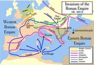 The Barbarian invasions of the 5th century were triggered by the destruction of the Gothic kingdoms by the Huns in 372-375. The city of Rome was captured and looted by the Visigoths in 410 and by the Vandals in 455.