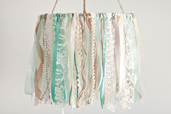 Baby Ribbon & Lace Mobile,  baby mobile, nursery, mint and aqua ribbon mobile