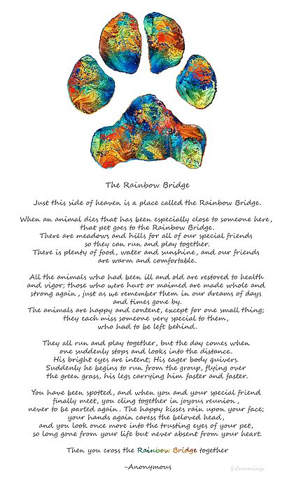 Rainbow Bridge Poem With Colorful Dog Paw By Sharon Cummings by Sharon Cummings