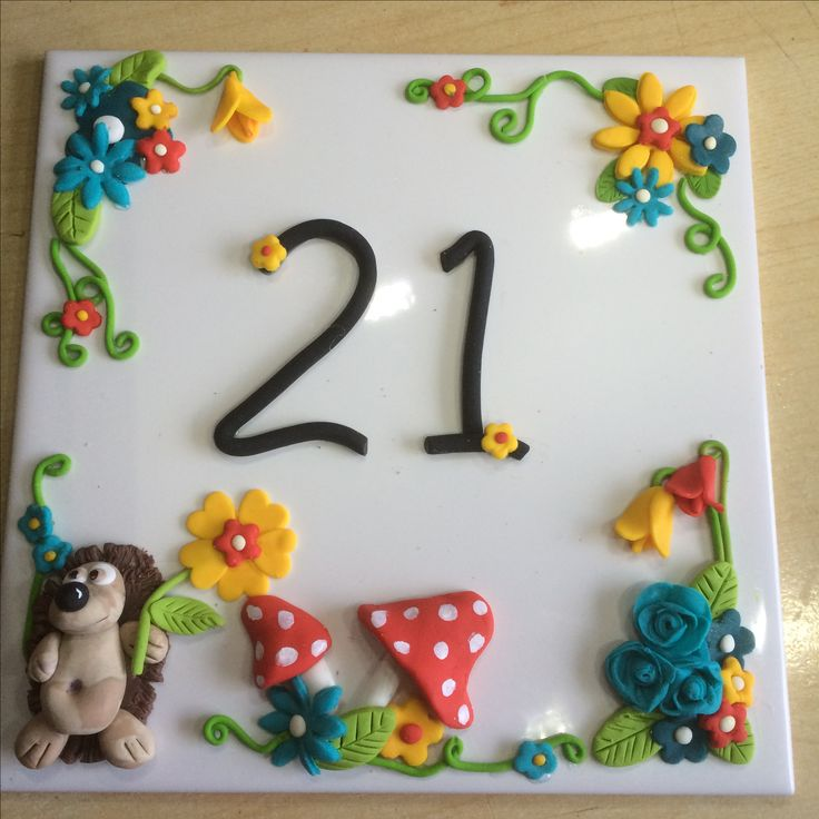 Hand made Fimo polymer clay  tile house number . Just finished  ready to go on our caravan in the country!