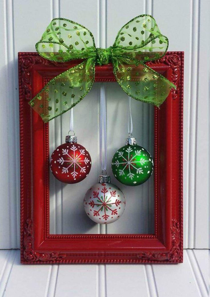 Frame, ball ornaments, ribbon, hot glue and Tada!                                                                                                                                                                                 More