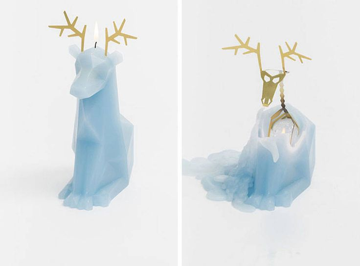Candles with Hidden Metal Skeletons  Since the success of its Kickstarter project Kirsa an inventive collection of origami cat-shaped candles PyroPet has developed the project with new animals like deers rabbits and canaries revealing a little metallic skeleton as wax is melting.        #xemtvhay