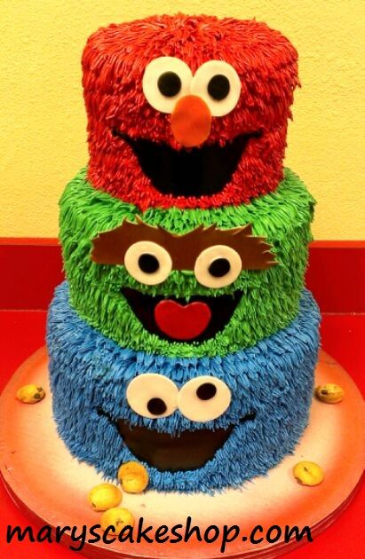 sesame street cake, elmo cake, cookie monster cake