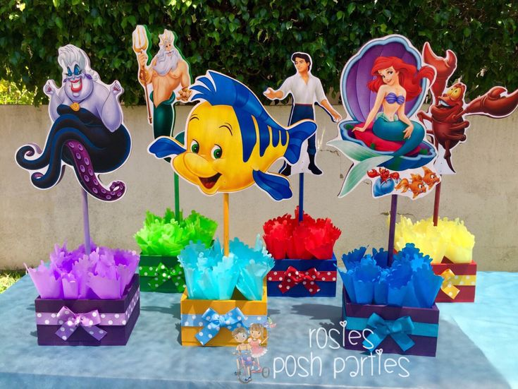 Little Mermaid Prince Eric King Triton Sebastian Flounder Ursula birthday handcrafted wood centerpieces for birthday or special occasion by RosiesPoshParties on Etsy https://www.etsy.com/listing/264598809/little-mermaid-prince-eric-king-triton