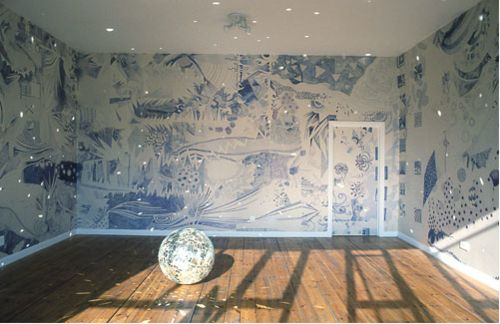 Ludovica Gioscia - 110 metres of hand drawn lining paper with 110 blue ball point pens.