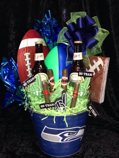 Seattle Seahawks Fan Basket Donnas Gift Creations