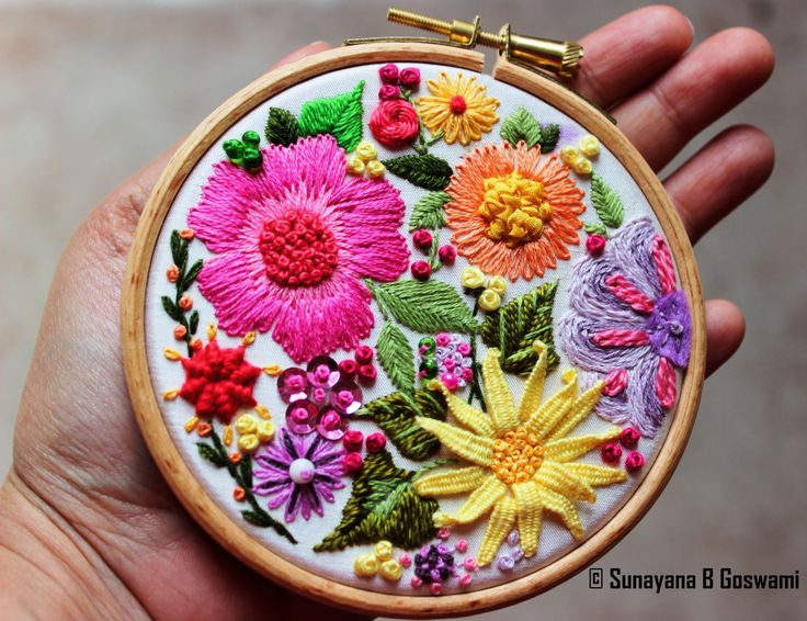 SunayanaBGoswami - Embroidery Hoop Art Wall Hanging Decorative Wall Art Handmade Embroidered Wall Decor White Silk Multicoloured Hand embroidered Flowers