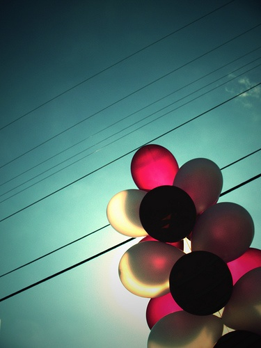 Balloons #powerlines #sky #colour