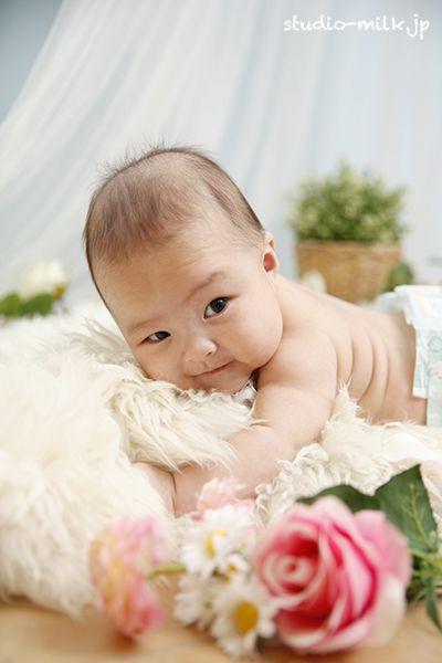 祝100日記念!ぷくぷくほっぺ♡ 生後3ヶ月の赤ちゃん