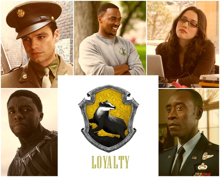 Please give credit if you repin, thank you :) Hufflepuff House, Marvel Edition by Feminist Unicorn. bucky barnes sam wilson falcon darcy lewis king t'challa black panther james rhodes rhodey war machine harry potter hogwarts house sorting hat (none of the images are mine. Editor used: BeFunky)