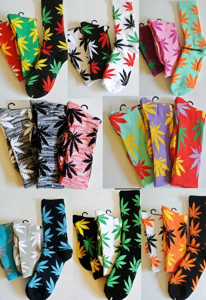 New 3 Pairs/Pack Crew Socks -420/Pot/Weed/Marijuana Leaf- Lots of Color Combo's! in Socks | eBay