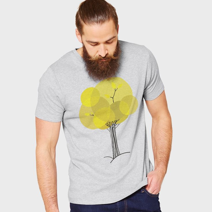 Autumn tree, certified 100% organic t-shirt heather grey. #organic #ethical #sustainable #sustainablefashion #nature #autumn #fall #tree #minimal #yellow #tshirt #tshirtdesign #apparel #clothing #menswear #mensfashion