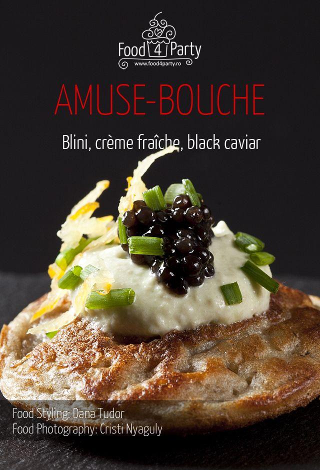 Blini creme fraiche black caviar