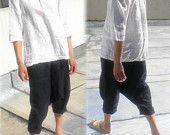004---losse Drop Kruis linnen Harem broek, Sarouel broek, Japanse stijl linnen broek, Yoga broek, visser broeken, linnen broek bijgesneden.