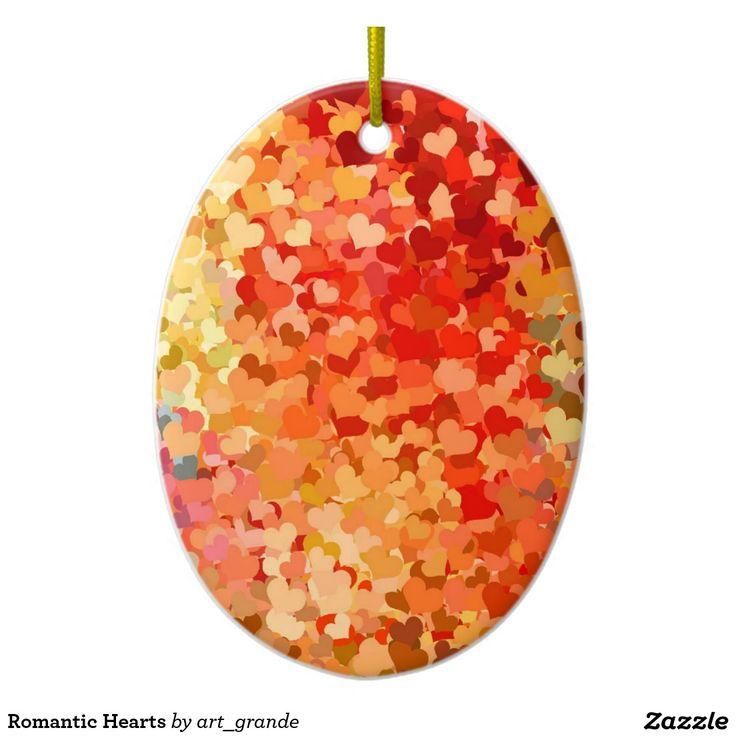 Romantic Hearts Ceramic Ornament