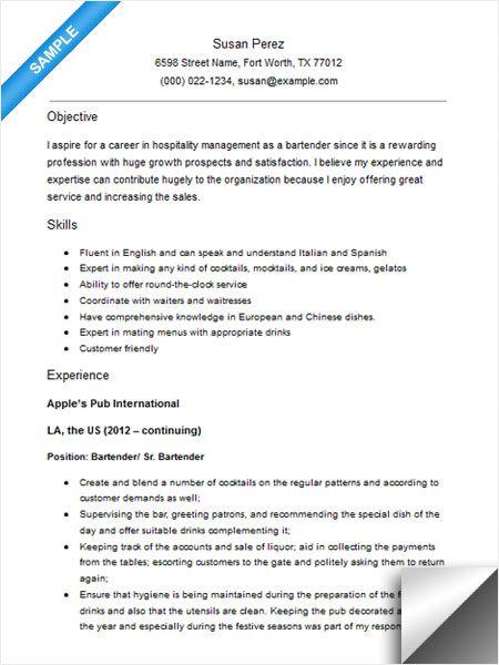 Bartender Resume Sample Resume Examples Sample Resume Resume Examples Resume