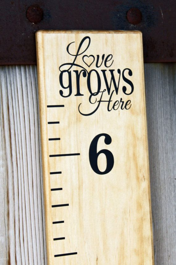 This add-on vinyl phrase decal completes your growth chart ruler perfectly. (If you want the tick marks/#s, dont forget to also add the growth