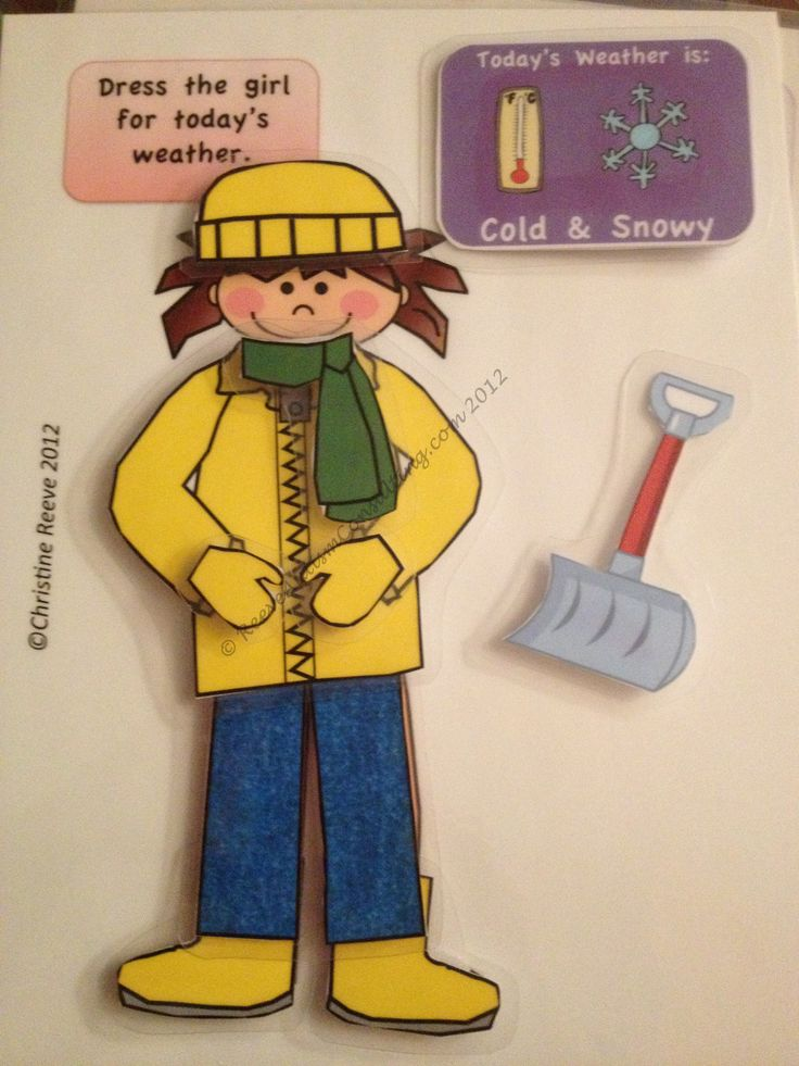 $4 Weather Kids is a file folder activity in which students dress figures to match the weather card that changes with the daily weather.