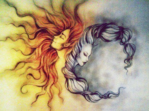 Sun/Moon Tattoo with hair!!!! idea for hubs tattoo but add our girls faces instead