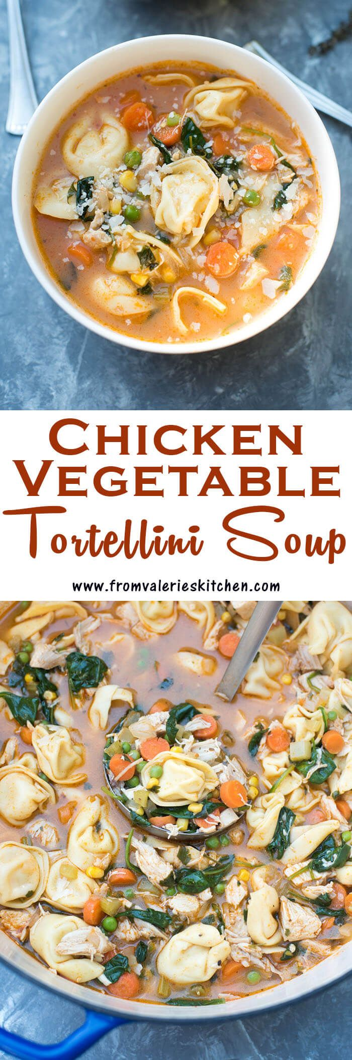 This Chicken Vegetable Tortellini Soup is made easy with a rotisserie chicken and store-bought cheese tortellini. A wholesome, comforting 30-minute meal! ~ http://www.fromvalerieskitchen.com