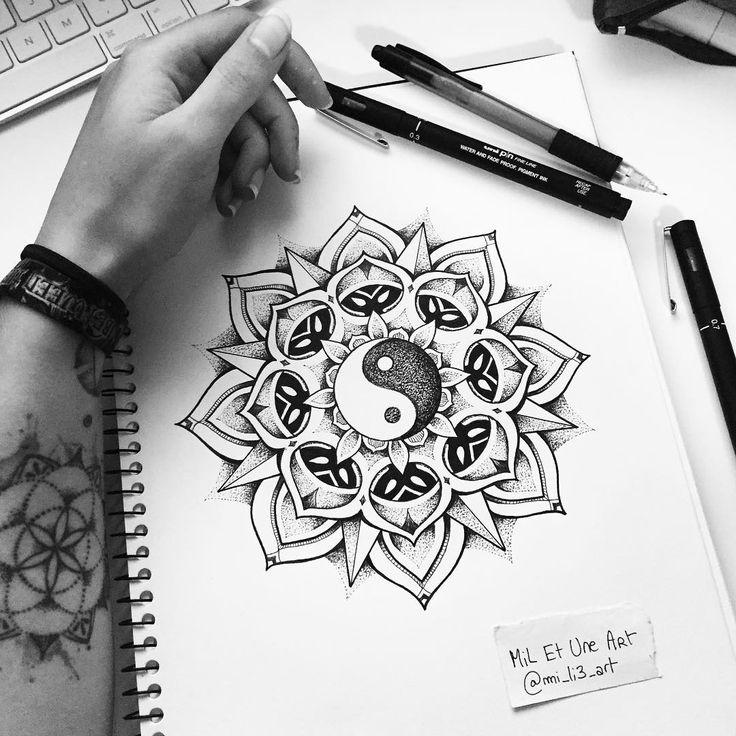 Yin yang dotwork mandala tattoo design :) #miletune