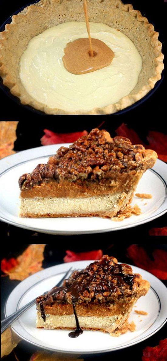 Three Pies in One – Cheesecake Pumpkin Pecan Pie