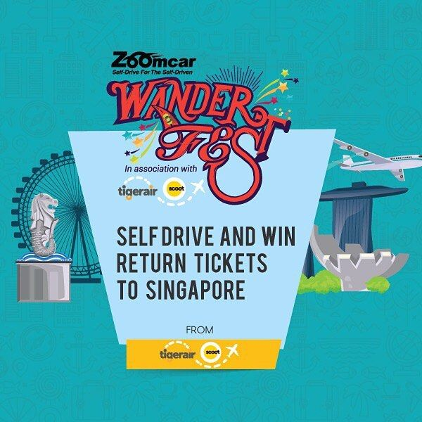 Zoom more to win more! Participate in the #Wanderfest #contest by booking more #Selfdrives & win #tigerair couple return tickets to #Singapore. Hurry contest for all #travel lovers only till 30th Nov! #contest #zoomcar #wanderfest #traveldiaries2016 #travelers