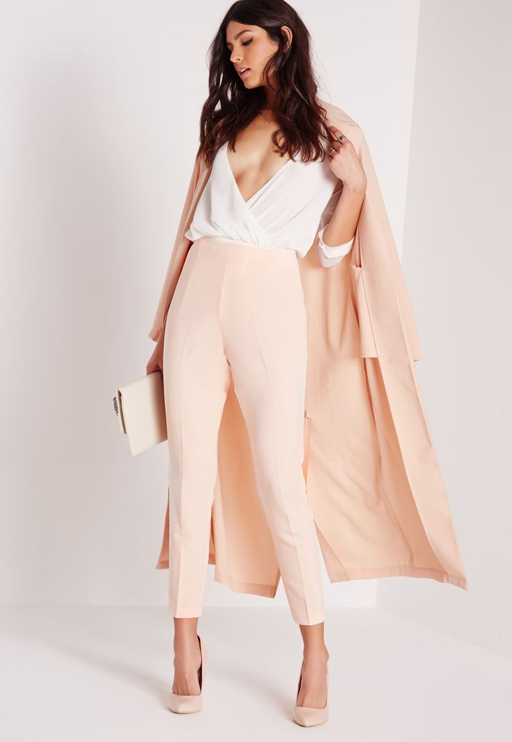 Missguided - High Waist Cigarette Trousers Nude