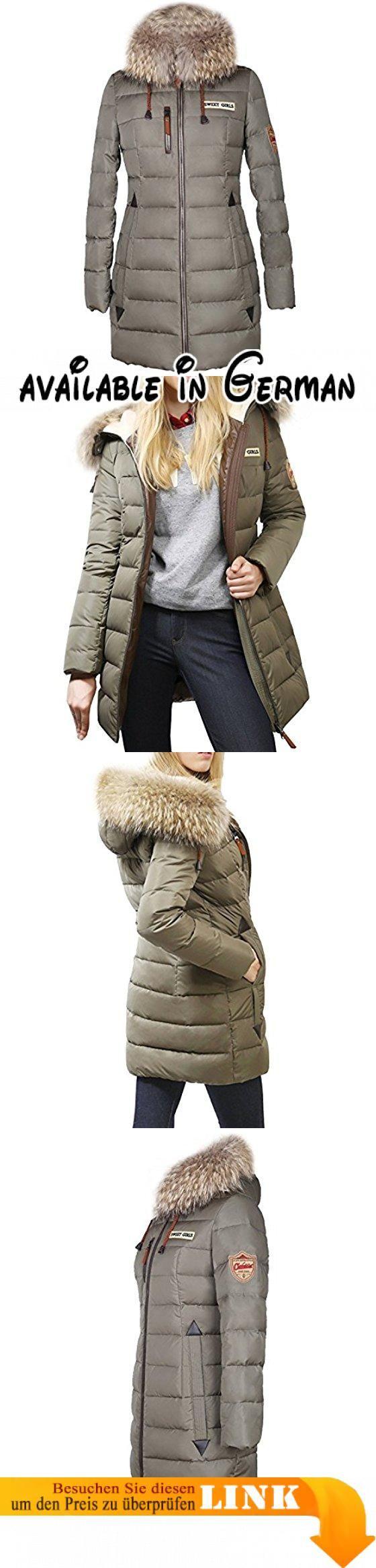 BININBOX® Damen Mantel Winterjacke Daunenmantel Steppjacke Kapuzen Daunenjacke Fell Parka lang (36(Hersteller Gr.M), Grün). Material Füllung: 70%Daunen, 30%Federn. Verschluss: Reißverschluss. Unser Modell hat eine Körpergröße von: 178cm(82/66/98); Unser Model trägt Größe: M. #Apparel #OUTERWEAR