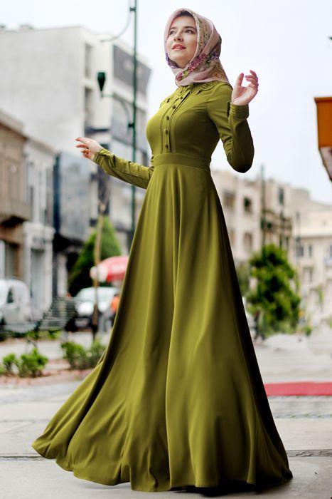 Hilal Baş Haki Yaka Desenli Elbise