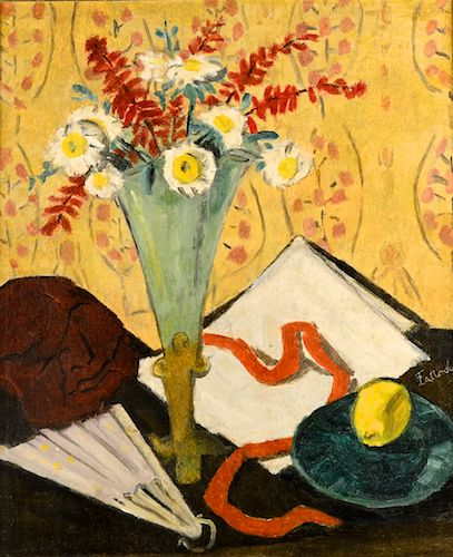 Theodor Pallady - Natură statică cu evantai, flori și lămâie