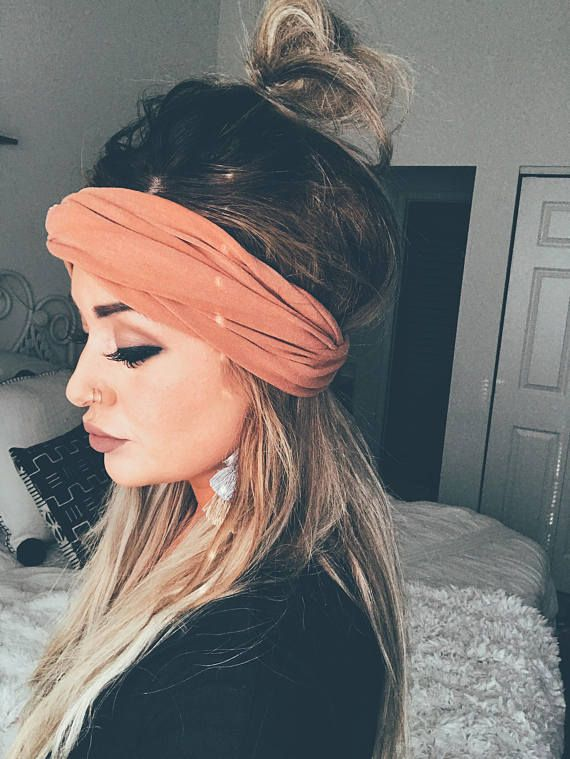 half undo, messy bun, boho hair, boho hairband, Cognac Scrunch Headband, Extra Wide Headband, Jersey Headband, Turban Jersey Headband, Boho Headband, Boho head wrap (women, teen girls) #ad