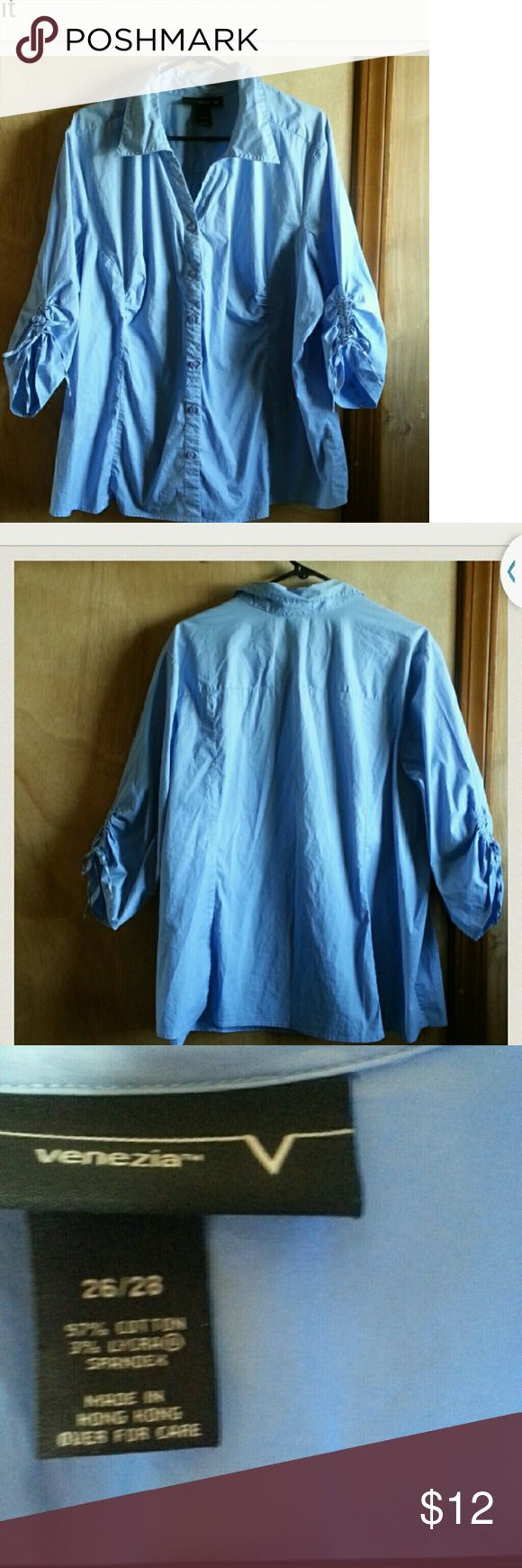 Baby blue button up blouseSize  26/28 Venezia  plus  size  blouse  great  condition Venezia Tops Button Down Shirts