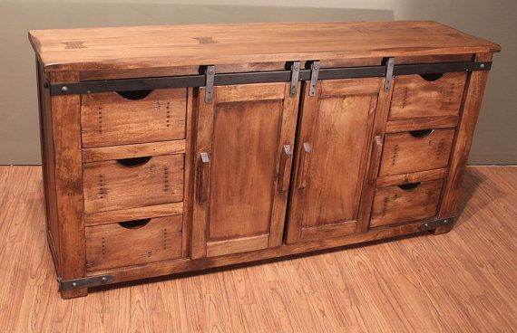 Outstanding Quality Rustic Solid Wood TV Stand Entertainment Console with sliding doors and drawers storage