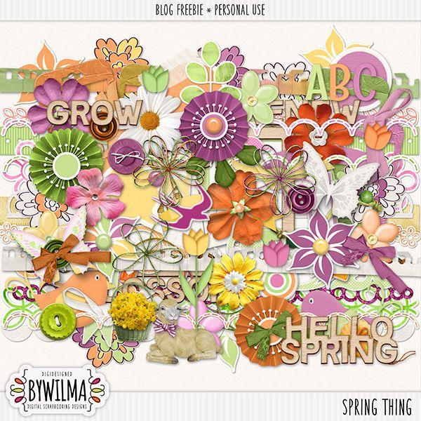 Digital scrapbooking freebie - Spring Thing byWilma - free until june, 2 2016