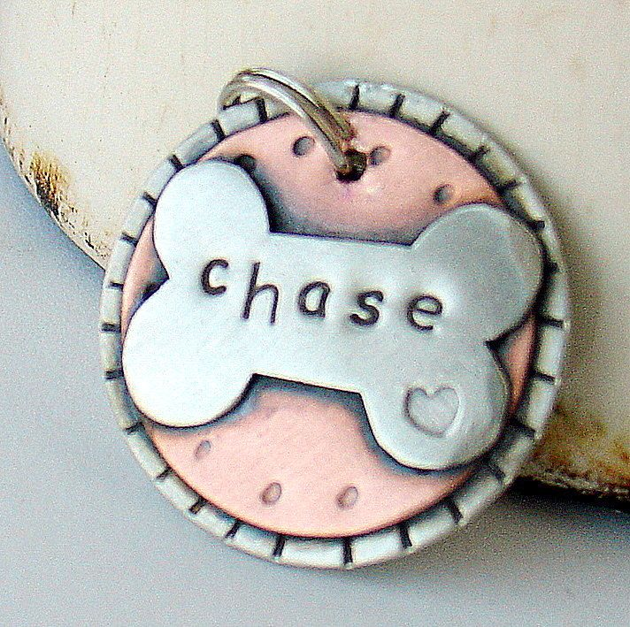Custom dog tag unique metal tag for dogs and cats by DoggoneTags. $23.00, via Etsy.