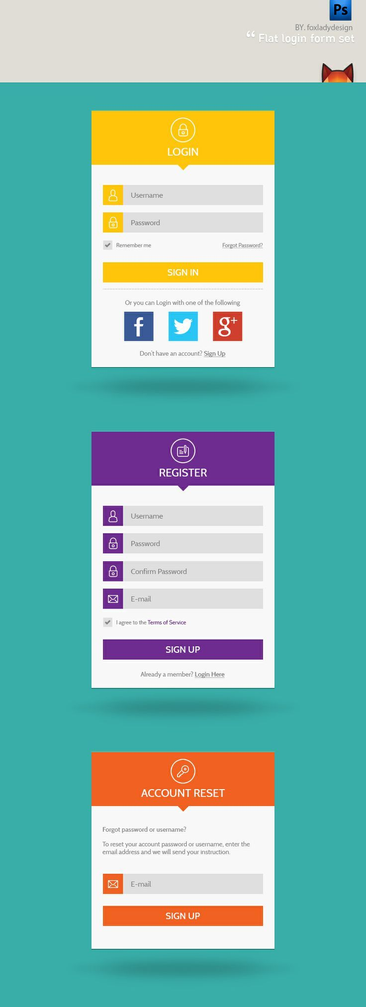 Free PSD Flat login form set. Login + Register + Forgot Password 3set form. You have choices in the 3 color.