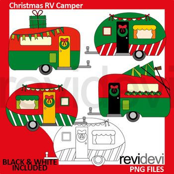 Christmas clipart set featuring red green caravan. Christmas RV camper fun design. Great resource for any school and classroom projects such as for creating bulletin board, printable, worksheet, classroom decor, craft materials, activities and games, and for