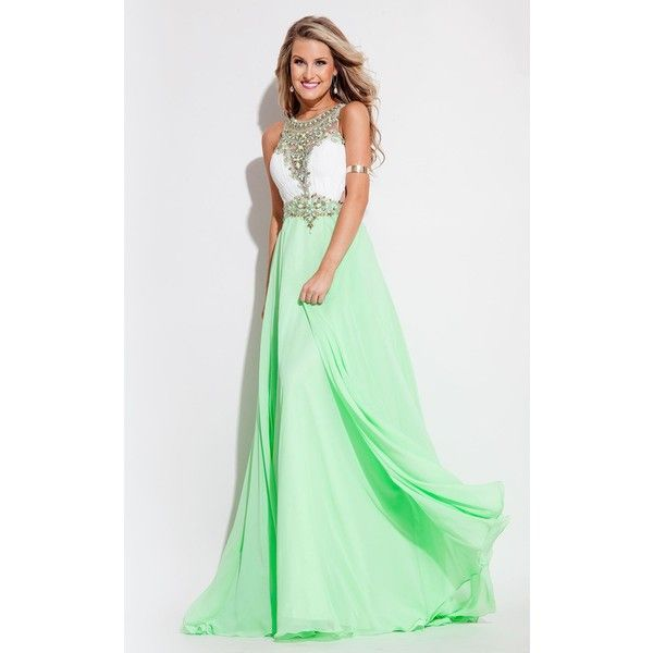Rachel Allan 7093 Prom Long Dress Long High Neckline Sleeveless ($358) ❤ liked on Polyvore featuring dresses, formal dresses, sleeveless dress, beaded formal dresses, formal prom dresses, sparkly dresses and glitter prom dresses