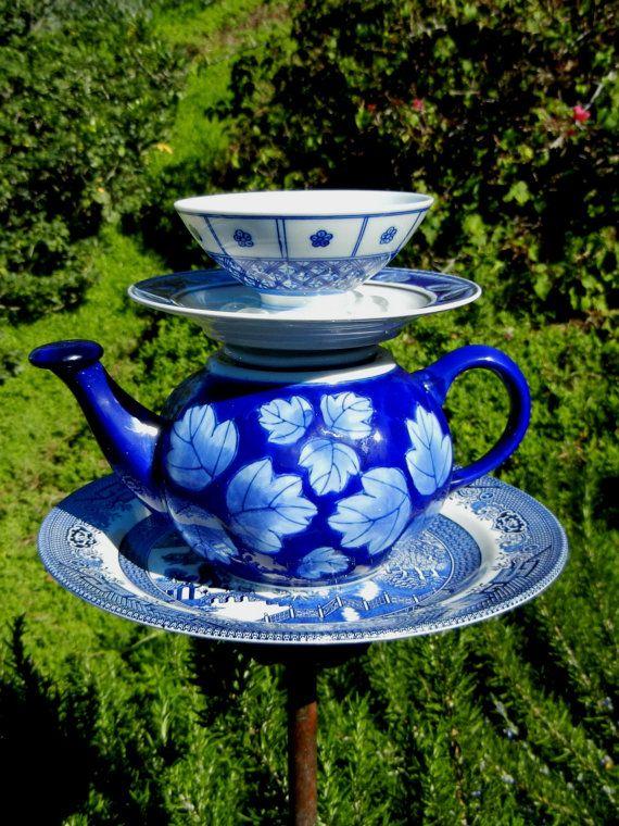 Teapot Bird Feeder, Garden Art, Repurposed, Garden Whimsy, Bird feeder, Garden Totem, Asian-Theme, Blue Willow – Shanghai Serenade