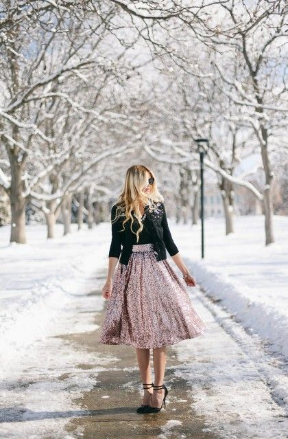 Put a dressy spin on things by mixing a sequined midi skirt and embellished cardigan. How glam!