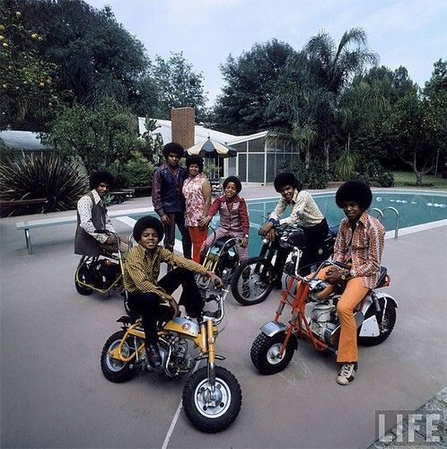 The Jackson 5 Life Magazine Mini-Bike Motorcycle Riders. Vintage Honda 50 & some other unknown models. Check out those Classic Afros. No Helmets and some serious Polyester clothing. Classic!