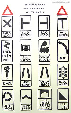 old road signs Shown here are some examples of roadsigns that could often be seen in 1950s Britain.