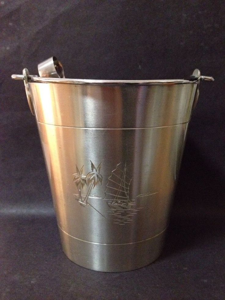 Estate Find - Vintage Pewter Ice Bucket with Image of Boat and Palm Trees?