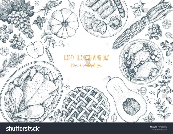 Thanksgiving day top view vector illustration. Food hand