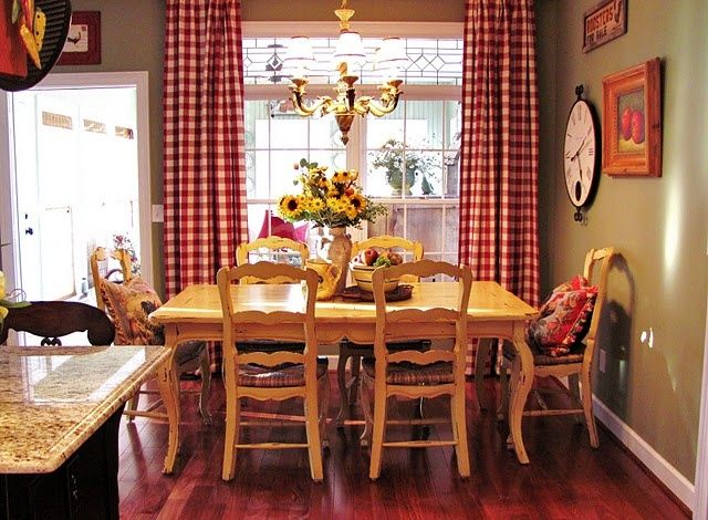 Love the red checked drapes  sage green walls!  Would work in my kitchen!